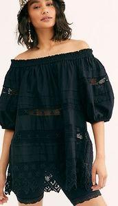 NWT Free People Shades of Summer Tunic LG Black
